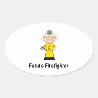future firefighter (boy) oval sticker