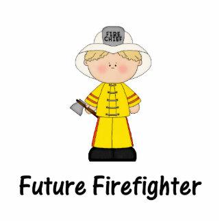 future firefighter (boy) standing photo sculpture