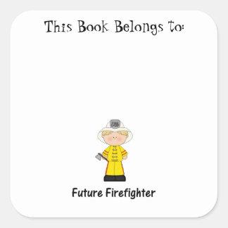 future firefighter (boy) square sticker
