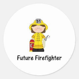 future firefighter (girl) classic round sticker