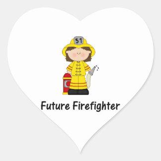 future firefighter (girl) heart sticker