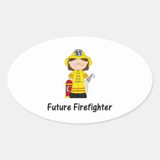 future firefighter (girl) oval sticker