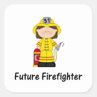 future firefighter (girl) square sticker