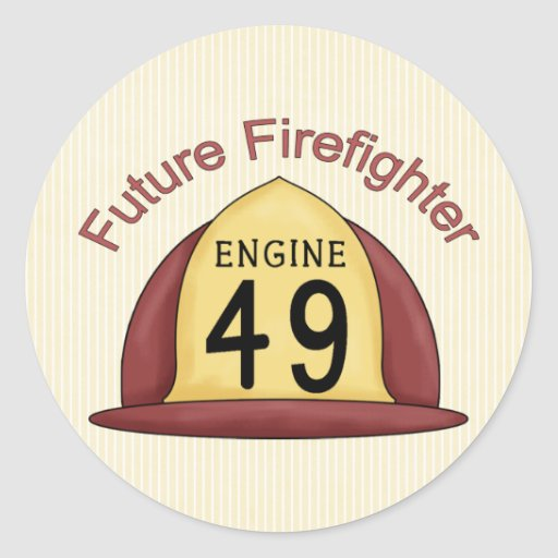 future Firefighter Hat Classic Round Sticker