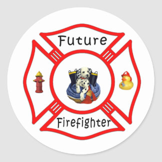 Future Firefighter Red Maltese Classic Round Sticker