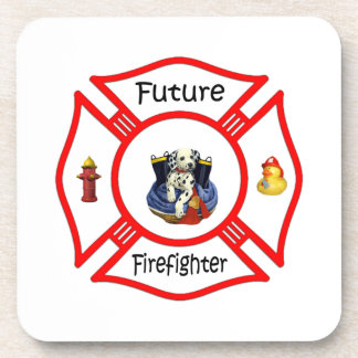 Future Firefighter Red Maltese Drink Coaster