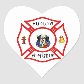 Future Firefighter Red Maltese Heart Sticker