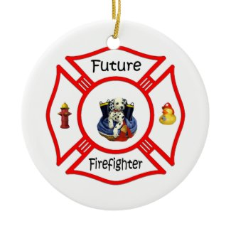 Future Firefighter Red Maltese ornament