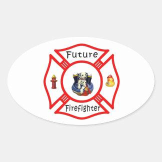 Future Firefighter Red Maltese Oval Sticker