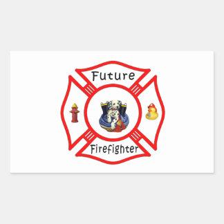 Future Firefighter Red Maltese Rectangular Sticker