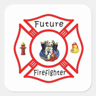 Future Firefighter Red Maltese Square Sticker