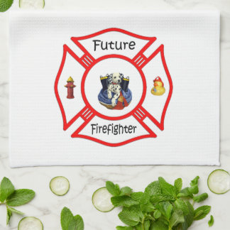 Future Firefighter Red Maltese Towels