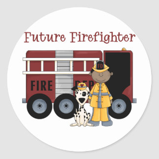 Future Fireman African American Round Stickers