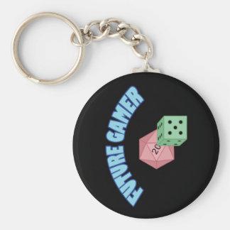 Future Gamer - Blue & Dice Basic Round Button Keychain