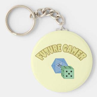 Future Gamer - Yellow & Dice Basic Round Button Keychain