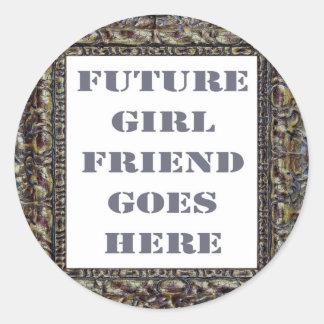 Future Girlfriend Goes Here On Valentine's Day Round Sticker