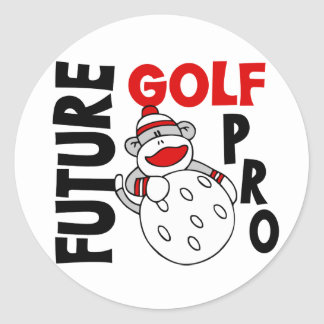 Future Golf Pro Sock Monkey Classic Round Sticker
