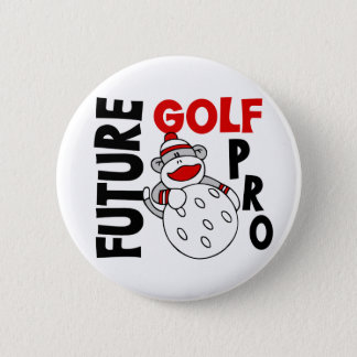 Future Golf Pro Sock Monkey Pinback Button