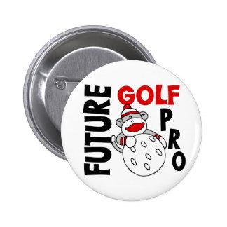 Future Golf Pro Sock Monkey Pinback Button