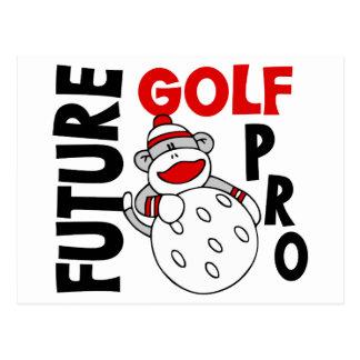 Future Golf Pro Sock Monkey Postcard
