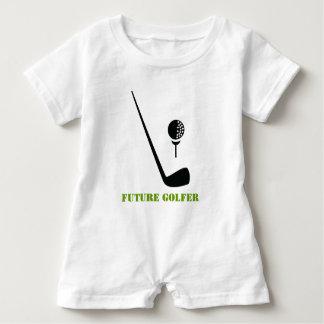 Future golfer club and ball black, green custom baby romper