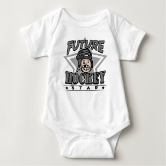 Future Hockey Star Black Helmet Baby Bodysuit