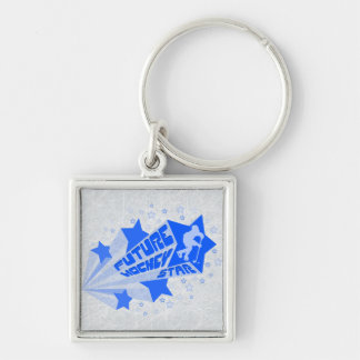 Future Hockey Star Keyring Silver-Colored Square Keychain