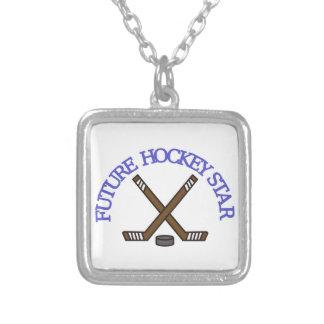 Future Hockey Star Square Pendant Necklace