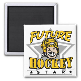 Future Hockey Star Yellow Helmet Magnet