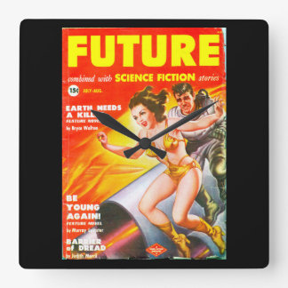 Future July_August 1950_Pulp Art Square Wall Clock
