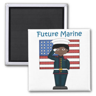 Future Marine Boy African American 2 Inch Square Magnet