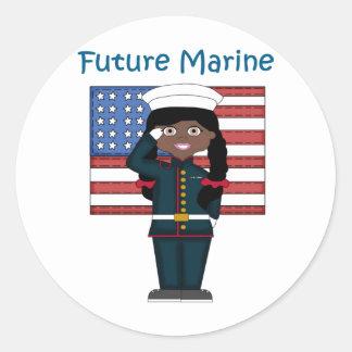 Future Marine Girl African American Classic Round Sticker