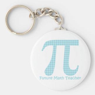 Future Math Teacher Pastel Blue Gingham Keychain