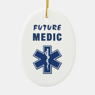 Future Medic Double-Sided Oval Ceramic Christmas Ornament