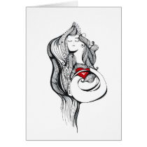 artsprojekt,maternity,baby,way,future,mom,parents,dad,pregnant,pregnancy,union,com,expecting,expectant,mother,female,femme,woman,whimsical,heart,pose,life,portrait,graphic,black,white,fantasy,patricia,vidour,arte,girl,illustration,decor,modern, Card with custom graphic design