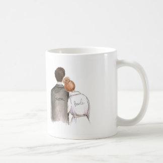 Future Mr. and Mrs. Dk Br Man Red Bun Bride Coffee Mug
