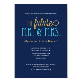 Future Mr and Mrs Rehearsal Dinner /Wedding Shower 5x7 Paper Invitation Card