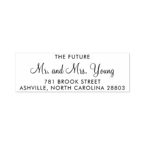 Future Mr and Mrs Script Wedding Return Address Self-inking Stamp