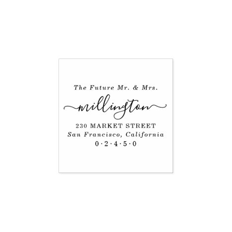 Future Mr & Mrs Elegant Script Name Return Address Rubber Stamp
