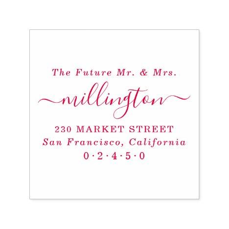 Future Mr & Mrs Elegant Script Name Return Address Self-inking Stamp