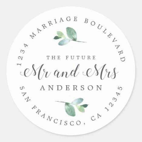 Future Mr Mrs Foliage Wedding Return Address Classic Round Sticker