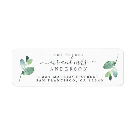 Future Mr Mrs Green Foliage Wedding Return Address Label