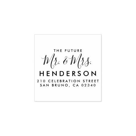 Future Mr & Mrs Script Modern Name Return Address Rubber Stamp