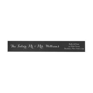 Future Mr. & Mrs. Wedding Envelope Black and White Wrap Around Label
