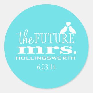 Future Mrs.-Aqua Blue Robin's Egg-Bridal Shower Classic Round Sticker