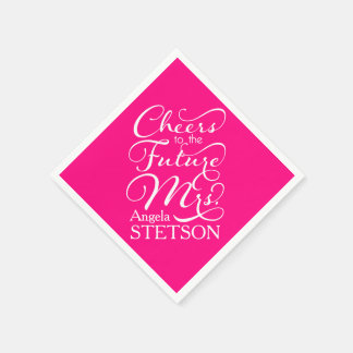 Future Mrs Bridal Shower | Hot Pink Paper Napkin