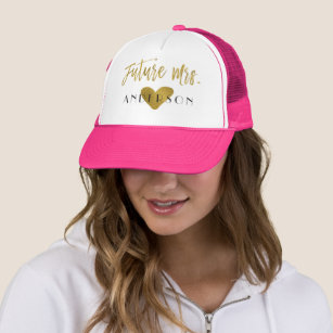 5dfdeacd8d331 Future Mrs. Faux Gold Foil and Pink with Heart Trucker Hat