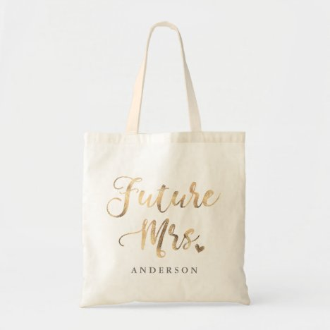 Future Mrs. gold calligraphy Tote Bag