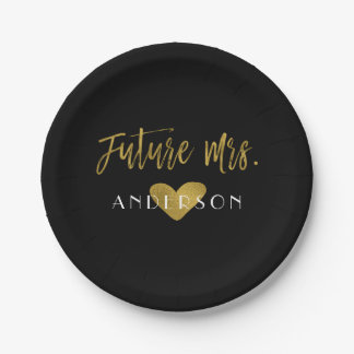 Future Mrs. Gold Foil Bride Party Plates