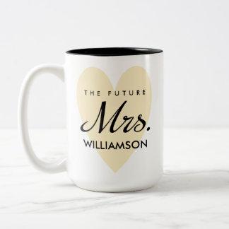 Future Mrs. - longer last name Two-Tone Coffee Mug